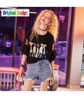 【Tシャツ】カットソー【半袖】ワイド袖【ゆったり】黒【ブラック】夏物 yj8935-2