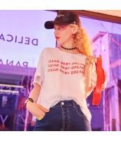 【Tシャツ】カットソー【半袖】ゆったり【文字入り】レース【白】ホワイト【夏物】 yj8942-1