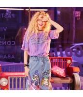 【Tシャツ】カットソー【半袖】ゆったり【文字入り】レース【紫】パープル【夏物】 yj8942-2
