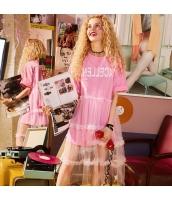 【アンサンブル】Tシャツ【カットソー】半袖【フレアスカート】膝下スカート【上下2点セット】メッシュ【桃色】ピンク【夏物】 yj8961-1