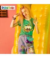 【Tシャツ】カットソー【半袖】夏物【緑】グリーン yj8976-1