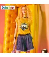 【Tシャツ】カットソー【半袖】夏物【黄色い】イエロー yj8976-2