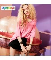 【Tシャツ】カットソー【五分袖】ゆったり【ダメージ入り】夏物【桃色】ピンク yj8979-1