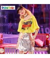 【Tシャツ】カットソー【五分袖】純綿100%コットン【ゆったり】夏物【黄色い】イエロー yj8980-1