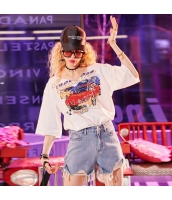 【Tシャツ】カットソー【五分袖】純綿100%コットン【ゆったり】夏物【白】ホワイト yj8980-2