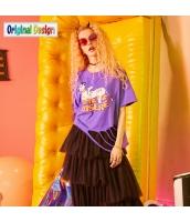 【Tシャツ】カットソー【半袖】文字入り【ゆったり】ダメージ入り【夏物】紫【パープル】 yj8983-2