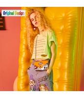 【Tシャツ】カットソー【半袖】文字入り【ダメージ入り】ゆったり【夏物】黄色い【イエロー】 yj8985-2