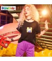 【Tシャツ】カットソー【半袖】ゆったり【純綿100%コットン】夏物【黒】ブラック yj8987-1