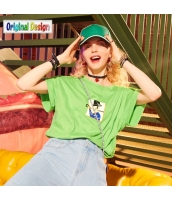 【Tシャツ】カットソー【半袖】ゆったり【純綿100%コットン】夏物【緑】グリーン yj8987-2