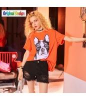 【Tシャツ】カットソー【半袖】ゆったり【夏物】橙色【オレンジ】 yj8991-2