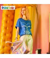 【Tシャツ】カットソー【半袖】ゆったり【純綿100%コットン】レース【夏物】青【ブルー】 yj8993-1