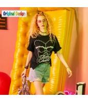 【Tシャツ】カットソー【半袖】ゆったり【純綿100%コットン】レース【夏物】黒【ブラック】 yj8993-2