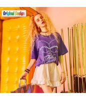 【Tシャツ】カットソー【半袖】ゆったり【純綿100%コットン】レース【夏物】紫【パープル】 yj8993-3