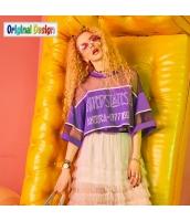 【Tシャツ】カットソー【半袖】文字入り【メッシュ】夏物【紫】パープル yj8994-2