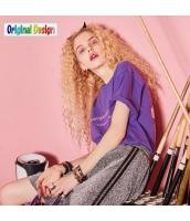 【Tシャツ】カットソー【半袖】文字入り【夏物】紫【パープル】 yj8996-2