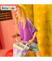 【Tシャツ】カットソー【五分袖】ゆったり【夏物】紫【パープル】 yj8997-3