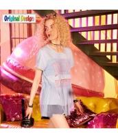 【Tシャツ】カットソー【半袖】着やせ【メッシュ】夏物【水色】ブルー yj8998-1