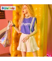 【ショートパンツ】ホットパンツ【ゆったり】フリル裾【夏物】白【ホワイト】 yj9000-2