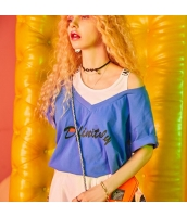 【Tシャツ】カットソー【半袖】ゆったり【重ね着風】夏物【青】ブルー yj9002-1
