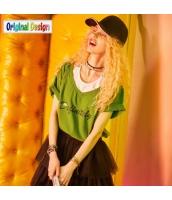 【Tシャツ】カットソー【半袖】ゆったり【重ね着風】夏物【緑】グリーン yj9002-2