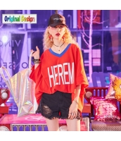 【Tシャツ】カットソー【五分袖】ゆったり【ドルマン袖】文字入り【夏物】赤【レッド】 yj9003-1