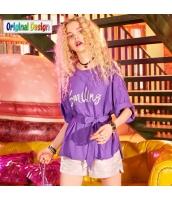 【ブラウス】五分袖【ゆったり】夏物【紫】パープル yj9007-2