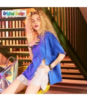 【Tシャツ】カットソー【五分袖】純綿100%コットン【ゆったり】夏物【青】ブルー yj9010-1