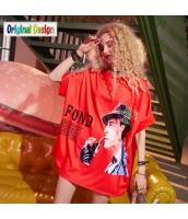 【Tシャツ】カットソー【五分袖】ゆったり【ドルマン袖】夏物【赤】レッド yj9018-1