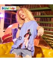 【Tシャツ】カットソー【五分袖】ゆったり【ドルマン袖】夏物【水色】ブルー yj9018-2