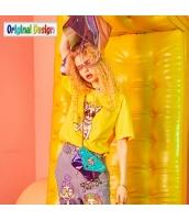 【Tシャツ】カットソー【半袖】ゆったり【夏物】黄色い【イエロー】 yj9020-2
