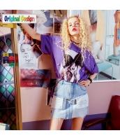 【Tシャツ】カットソー【半袖】ゆったり【夏物】紫【パープル】 yj9024-2