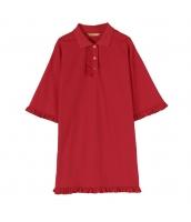 【チュニック】五分袖【ゆったり】夏物【赤】レッド yj9033-1