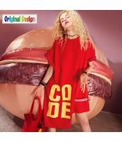 【膝上ワンピース】半袖【Aラインワンピース】ゆったり【イレギュラー裾】夏物【赤】レッド yj9042-1