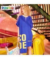 【膝上ワンピース】半袖【Aラインワンピース】ゆったり【イレギュラー裾】夏物【青】ブルー yj9042-2