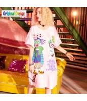 【膝上ワンピース】半袖【Aラインワンピース】ゆったり【夏物】桃色【ピンク】 yj9049-2