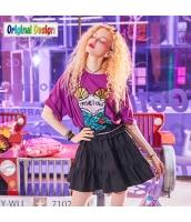 【チュニック】半袖【ゆったり】スパンコール【Tシャツワンピ】夏物【紫】パープル yj9051-2