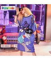 【ひざ下丈ワンピース】五分袖【Aラインワンピース】ゆったり【夏物】紫【パープル】 yj9063-1