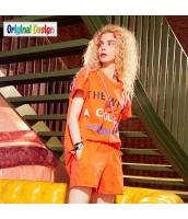 【アンサンブル】Tシャツ【カットソー・カットソー】半袖【ショートパンツ・ホットパンツ】ダメージ入り【夏物】橙色【オレンジ】 yj9064-1