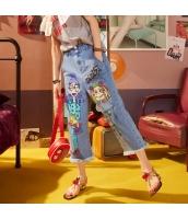 【ジーンズ・デニムパンツ】フリンジ裾【ゆったり】夏物【青】ブルー yj9070-1