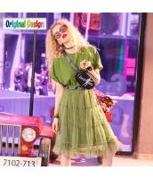 【アンサンブル】Tシャツ【カットソー】半袖【フレアスカート】膝下スカート【上下2点セット】メッシュ【夏物】緑【グリーン】 yj9074-2