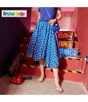 【フレアスカート】膝下スカート【ドット柄】夏物【青】ブルー yj9079-1