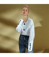 【シャツ】長袖【ベーシック】春物【白】ホワイト yj9081-1