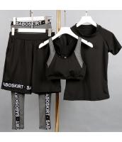 ヨガ フィットネス トレーニング Tシャツ+タンクトップ+長ズボン+ショートパンツ4点セット アンサンブル スポーツウェア ピラティス ジム ダンス ランニング シェイプアップ ダイエット yjk7609-2