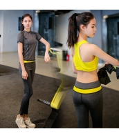 ヨガ フィットネス トレーニング Tシャツ+タンクトップ+重ね着風パンツ3点セット アンサンブル スポーツウェア ピラティス ジム ダンス ランニング シェイプアップ ダイエット yjk7701-2