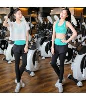 ヨガ フィットネス トレーニング 半袖Tシャツ+タンクトップ+重ね着風パンツ3点セット アンサンブル スポーツウェア ピラティス ジム ダンス ランニング シェイプアップ ダイエット yjk7702-5