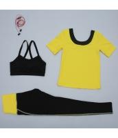 ヨガ フィットネス トレーニング 半袖Tシャツ+タンクトップ+パンツ3点セット アンサンブル スポーツウェア ピラティス ジム ダンス ランニング シェイプアップ ダイエット yjk7704-1