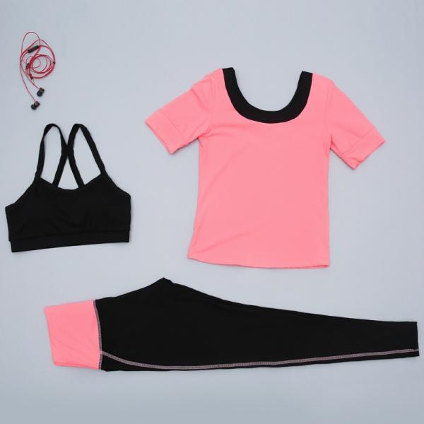 ヨガ フィットネス トレーニング 半袖Tシャツ+タンクトップ+パンツ3点セット アンサンブル スポーツウェア ピラティス ジム ダンス ランニング シェイプアップ ダイエット yjk7704-3