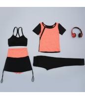 ヨガ フィットネス トレーニング Tシャツ+タンクトップ+長ズボン+ショートパンツ4点セット アンサンブル スポーツウェア ピラティス ジム ダンス ランニング シェイプアップ ダイエット yjk7705-3