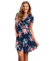 ネイビー ブルー デザインポケット 夏物 花柄 シャツドレス cc220016-5