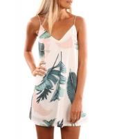 ライト トロピカル パーム プリント ショート ドレス lc220029-4